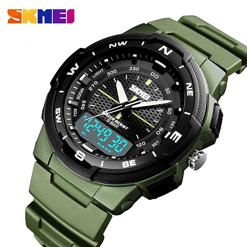 【SKMEI Official】1454 Top luxury Men's Dual Display LED Digital PU Luxury  Strap Date Clock Watch