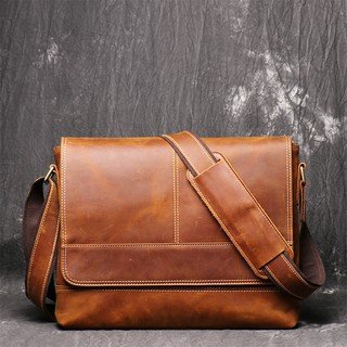 Vintage Natural Crazy Horse Leather Men Messenger Bags Big A4 Document Bag Genuine Leather Sling Bags