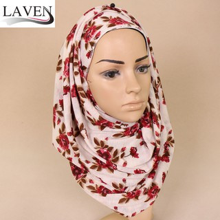 Small fresh flower print scarf winter sweet headband soft and comfortable muslim