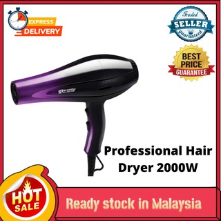 Ready Stock Delly Fashion Professional Hair Dryer 2000W Strong Wind Ionic Travel Hair Style Dryer Xl-8888-Purple Black