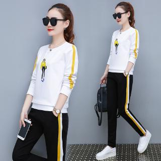 Sports and leisure suit female 2019 spring and autumn new large size round neck sweater fashion two bars running two