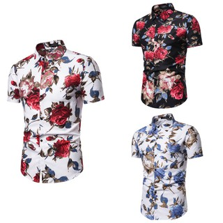 Men's Summer Casual Short-Sleeved Floral Shirt