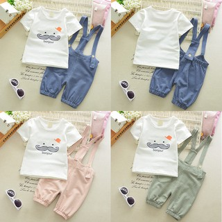 2pcs Baby Boys Girls Cute Beard T-shirt + Striped Straps Shorts Pant Summer Suit
