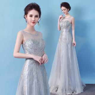 【NEW】Noble Silver Gray Flash Print Evening Dress Elegant Round Neck Perspective Wedding Bridesmaid Dress