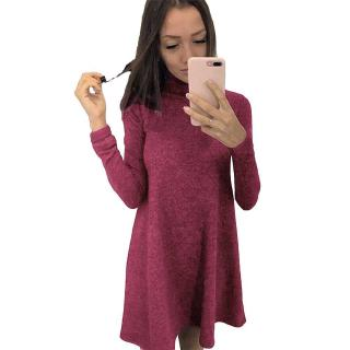 Women T-shirt Dress Solid Color High Neck Long Sleeve A-Line Flare Mini Basic Casual One-Piece (Burgundy)