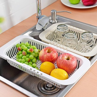 Retractable sink drain rack plastic tableware shelf household kitchen dish rack