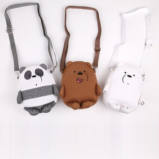 we bare bears embroidery sling bag kids small cartoon crossbody bag phone bag coin purse