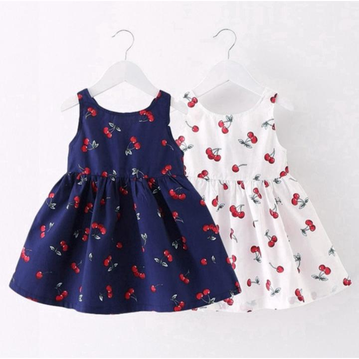 Girls 1-7Y Little Cherry Print Dress Princess Bowknot Sundress Hot Sales