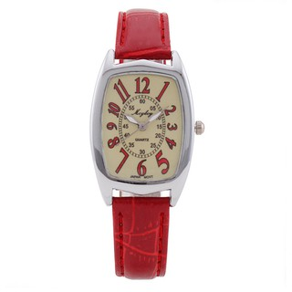 【Promote Sales】Casio Style Ladies Red Leather Fashion Casual Analog Watch Red