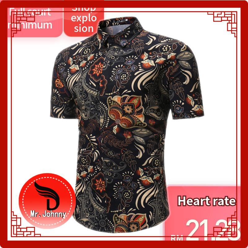 Summer casual Floral Shirt short sleeve business slim fit men shirt big size 123
