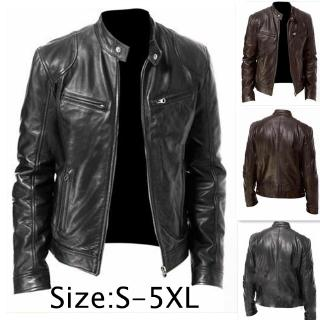 New Winter Fashion Men Keep Warm Leather Jacket Slim Motorcycle PU Leather Jacket