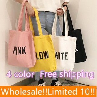 【POSTTODAY】Canvas Women Tote Bag Korean Single Shoulder Bag Shopping Bag 33x37cm