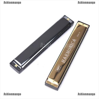 [0916 Ready Stock] 24 Hole Key Of C Play Harmonica Tremolo Harmonica Mouth Organ Double Row Blues