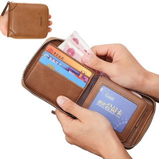 Leather Wallet Multi Travel Bifold Credit Card Holder Purse with Coin Pocket and Zipper for Men and Women