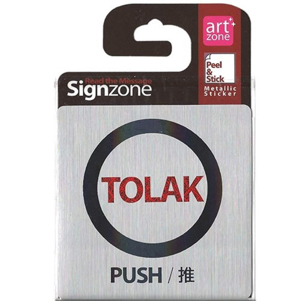 Signzone Peel & Stick Metallic Sticker - TOLAK (PUSH / ?) (Item No: R01-01-TOLAKPSH)