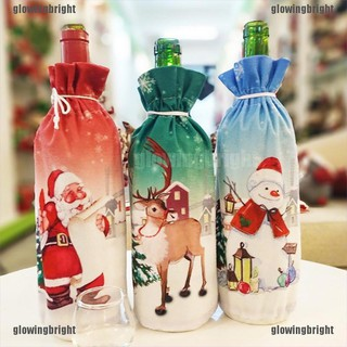 Suitable choice Festival Bottle Cover Bags Cartoon Pattern Home Party Santa Christmas Decor Affordable