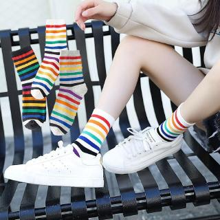 JUSTINER Casual Rainbow Stripe Print Breathable Moisture Wicking Deodorant Elastic Athletic Socks