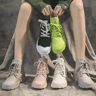 Candy-colored high-top canvas shoes women's casual British wind women's shoes tide Korean version of Martin boots
