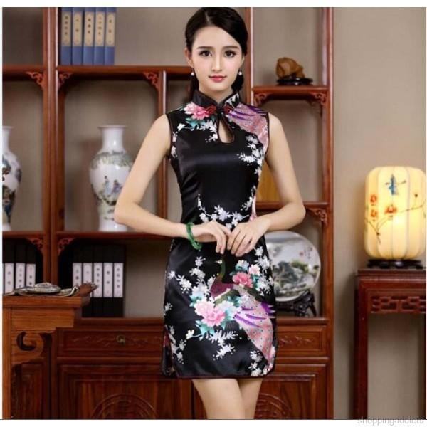 Summer Chiniese Short-sleeved Cheongsam Slimming Dress Sexy Bodycon Dress