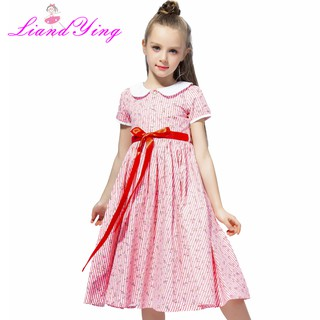 Girl Dress Summer Floral Print Teenagers Dresses Formal Party Dress Kids Vestido