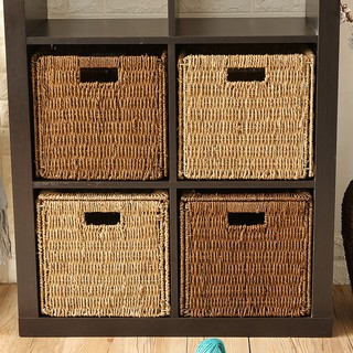 Handmade straw folding storage basket rattan storage basket woven basket