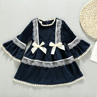 Superseller Children Girls Gold Velvet Long Sleeve Princess Sweet Lace Stitching Cute Dress