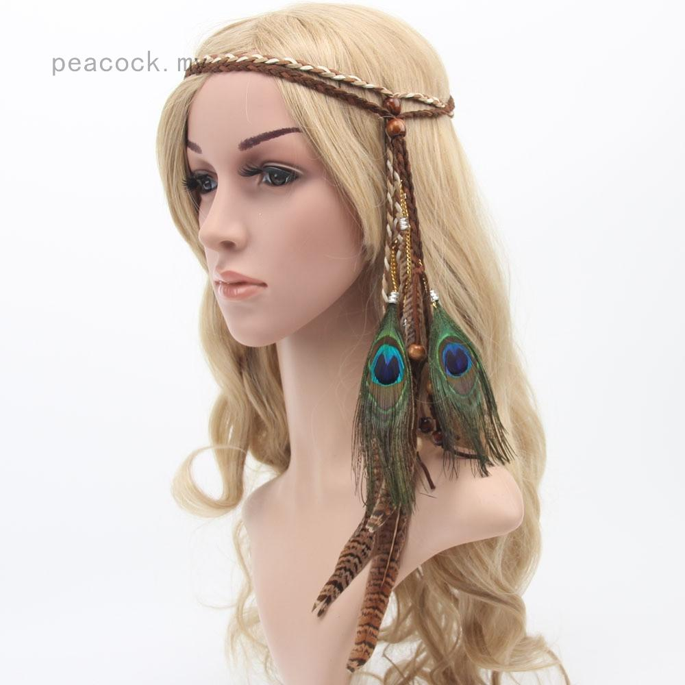 WomenFashion Retro Bohemia Peacock Feather Headband Beads Headdress Fancy Dress Headpieces Hippie