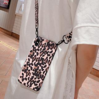 Sexy Leopard Shoulder Bag Phone Case For iPhone 8 Plus X Xs Max XR Crossbody Necklace Cord Lanyards with Rope Soft Cover