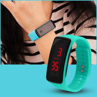 Fashion Digital LED Display Sports Jelly Silicone Band Men Women Wrist Watch