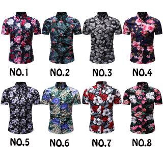 READY STOCK! 8 Colors Summer Mens New Short Sleeve Floral Shirts Fashion Casual Baju Lelaki Slim Fit Kemeja Lelaki