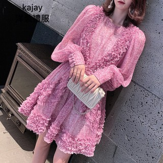 lm star with a purple floral dress long sleeve french retro chiffon dress