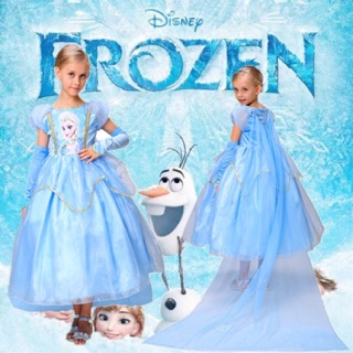 Ready Stock  Elas Princess Kids frozen costume   Dress Up children's party Gown Cosplay Tulle Dress