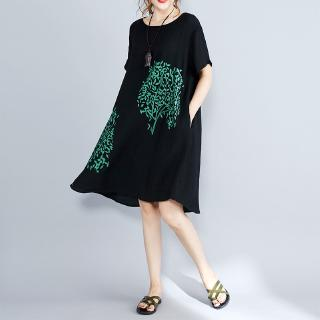 Real shot summer dress new XL women's silk linen loose thin print long paragraph short-sleeved dress