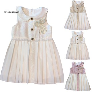 NAME Princess Girl Color Block Doll Collar Faux Pearl Bow Pleated Sleeveless Dress