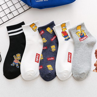 Ready Stock! Cute Simpson Women Men Cotton Short Socks Fashion Korea Harajuku Street Funny  Ankle Socks