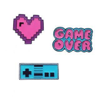 Cartoon Letter GAME OVER Video game Brooch Creative Gamepad Pixel Heart Enamel Pin Clothes Jewelry gift