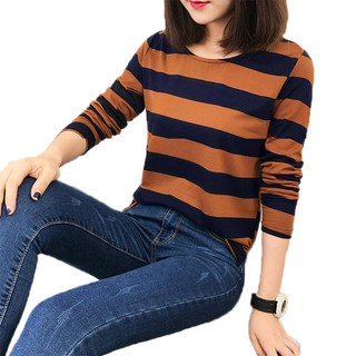 M-2XL Lady's Pure Cotton Striped Loose Tops 4 Colors Long Sleeve Base T-shirt