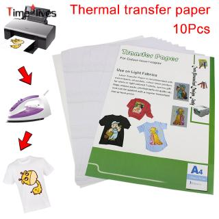 TF▶ 10pcs Heat Print Transfer Paper Printing Inkjet A4 210mm X 297mm For Light Color Fabric