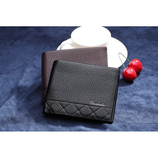 Simple Embroidered Man Male Business Short 2 Fold Wallet Lichi PU Leather Man Short Wallet