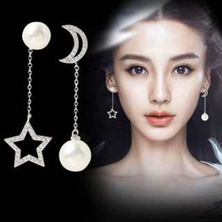 Elegant Women Star Moon Pearl Rhinestone Long Asymmetrical Dangle Earrings litasteful