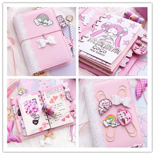 Unicorn Coco Planner Book Suit A6 Spiral Notebook Diary Binder Set Hand-book Students Office Monthly Weekly Schedule