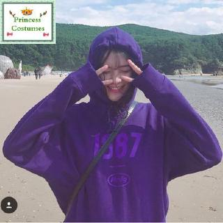 【Ready Stock|Sweater】 a A hot student super coat purple hooded coat,