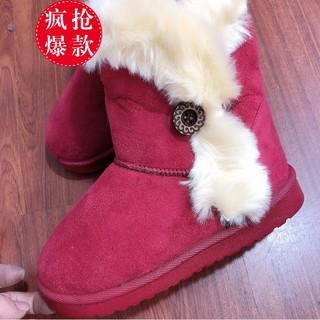 Disney's official store official website children's shoes fur one thickened plus velvet snow boots warm shoes cotton sho