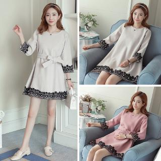 Maternity fall and winter clothes for pregnant women woolen dress beaded lace A-line skirt Sleeve Autumn Fall