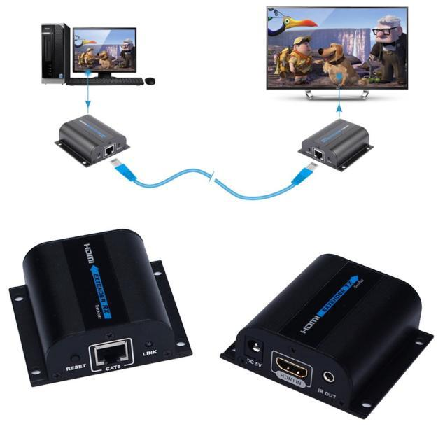 Hot IR Remote HDMI Extender Converter Up to 60M Video/Audio Extender Over Cat6