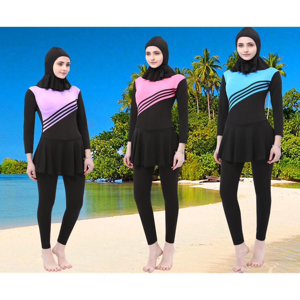 New Muslim Ladies Swimsuit Outdoor Swimwear Plus Size Bathing Suit