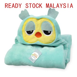 Ready stock hooded baby blanket swaddle bath robe towel flannel infant cartoon
