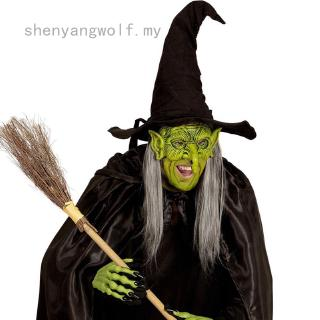 shenyangwolf Foam Witch Mask Halloween Carnival Festival Party Mask Green Goblin Costume Green Elf Scary Witch Mask