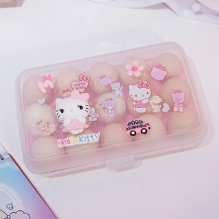 Hello Kitty Egg Box With Lid Plastic Grid Egg Sealed Box