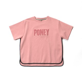 Poney Jesse Black Detailed Hem Short Sleeve Pink Tee